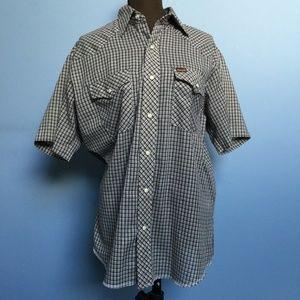 Wrangler Vintage Plaid Short-Sleeve Button-Down